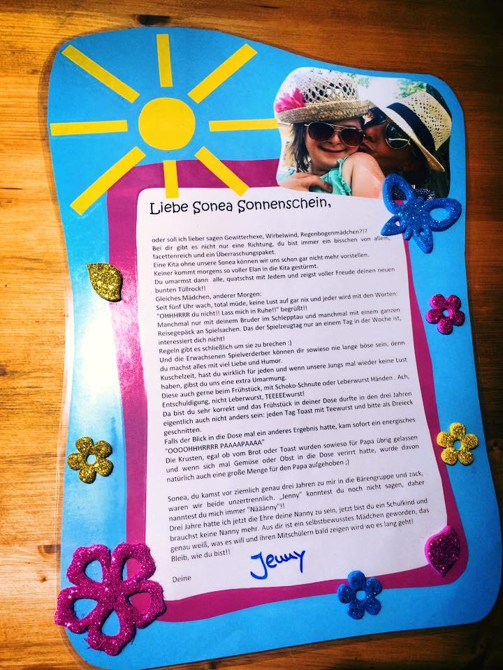 Kindergarten Abschiedsbrief Für Kind
