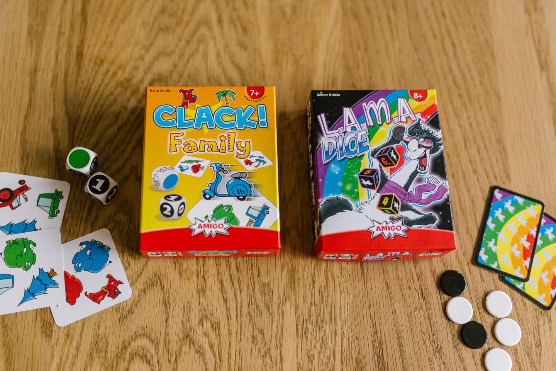 Sonea Sonnenschein Amigo Spiele Clack! Family und Lama Dice